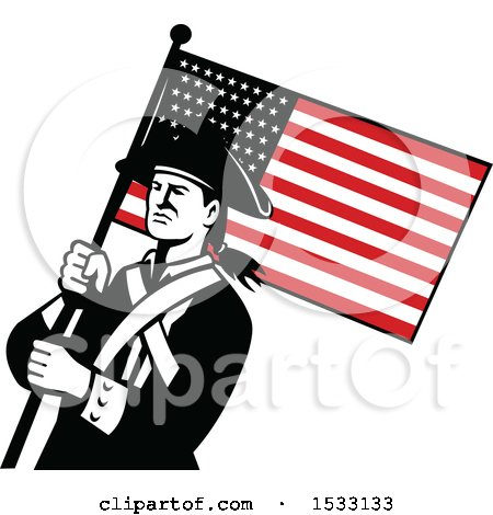 Clipart of a Retro American Patriot Soldier with a Star Spangled Banner - Royalty Free Vector Illustration by patrimonio