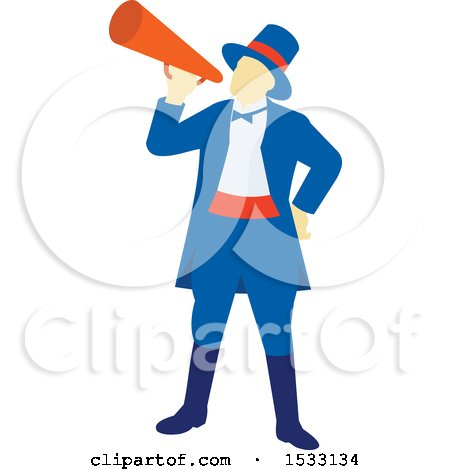 Clipart of a Retro Circus Ringmaster Using a Megaphone - Royalty Free Vector Illustration by patrimonio
