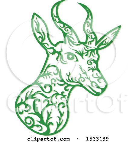 Clipart of a Springbok Antelope Head in Green with Vine Style - Royalty Free Vector Illustration by patrimonio
