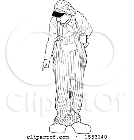Clipart of a Black and White Clown Pointing at the Ground - Royalty Free Vector Illustration by dero