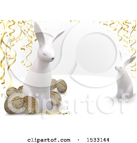 Clipart of 3d Easter Eggs and Rabbits with Streamers on a White Background - Royalty Free Vector Illustration by dero