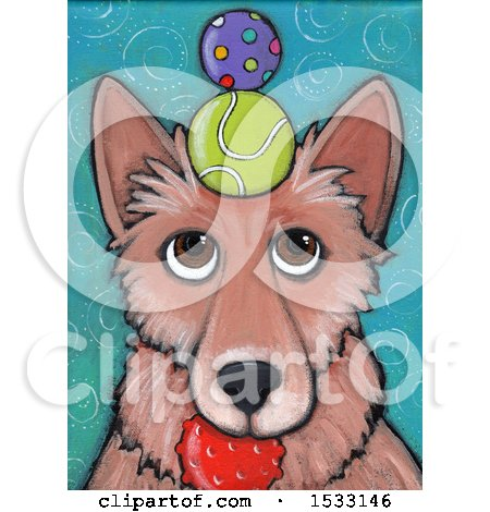 Clipart of a Painting of a Dog with Balls Balanced on His Head and in His Mouth - Royalty Free Illustration by Maria Bell