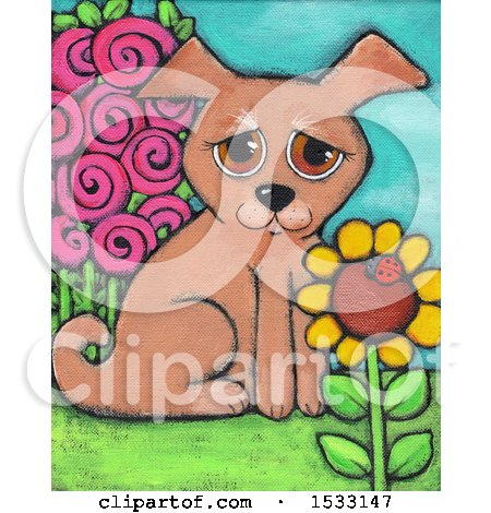 Painting of a Puppy Dog in a Garden Posters, Art Prints