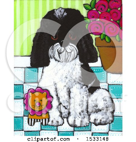 Painting of a Dog Sitting with a Toy Lion Posters, Art Prints