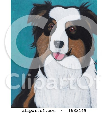 Clipart of a Painting of an Australian Shepherd Dog - Royalty Free Illustration by Maria Bell