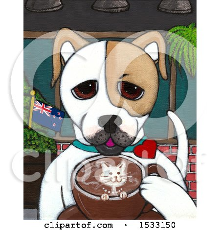 Clipart of a Painting of a Dog Drinking a Coffee with a Cat Design - Royalty Free Illustration by Maria Bell