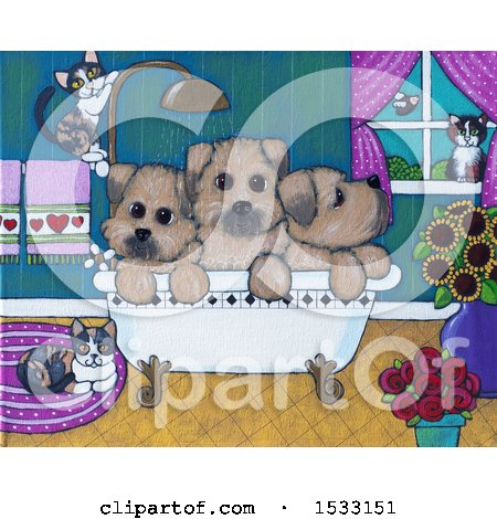 Clipart of a Painting of Cats Around Puppy Dogs in a Bath Tub - Royalty Free Illustration by Maria Bell