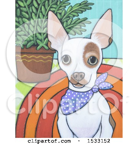Clipart of a Painting of a White Chihuahua Dog Wearing a Bandana - Royalty Free Illustration by Maria Bell