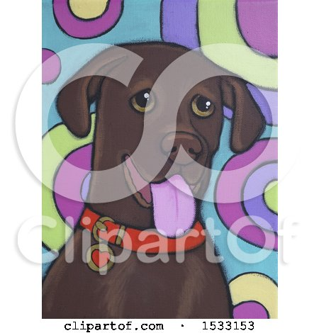 Clipart of a Painting of a Chocolate Lab Dog - Royalty Free Illustration by Maria Bell