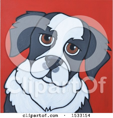 Clipart of a Painting of a Dog - Royalty Free Illustration by Maria Bell