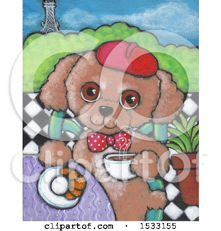 Clipart of a Painting of a Dog Eating a Croissant and Drinking Coffee in Paris - Royalty Free Illustration by Maria Bell