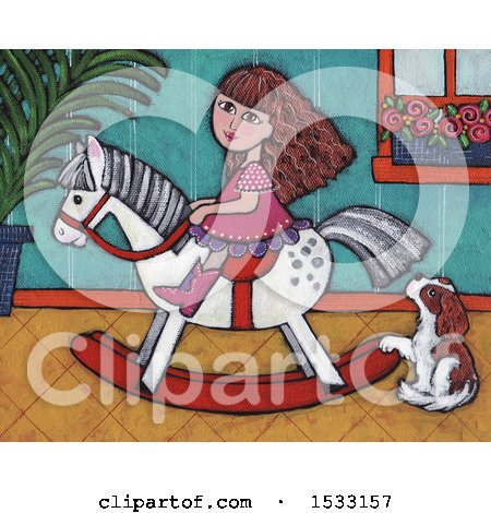 Clipart of a Painting of a Girl Riding a Rocking Horse by a Dog - Royalty Free Illustration by Maria Bell
