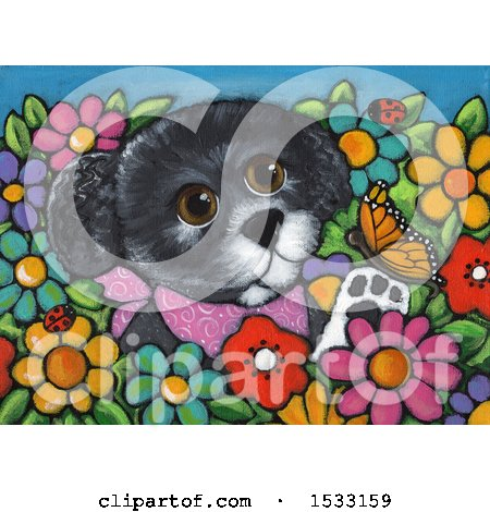 Painting of a Dog Playing with a Butterfly in a Garden Posters, Art Prints