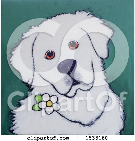 Clipart of a Painting of a Great Pyrenees with a Flower - Royalty Free Illustration by Maria Bell