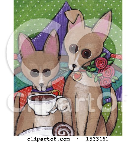 Clipart of a Painting of Dogs with Coffee - Royalty Free Illustration by Maria Bell
