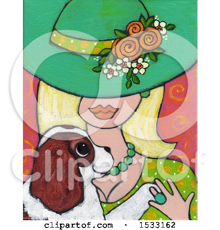Clipart of a Painting of a Blond Woman Holding Her Dog - Royalty Free Illustration by Maria Bell