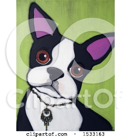 Clipart of a Painting of a Boston Terrier Dog Wearing a Necklace Collar - Royalty Free Illustration by Maria Bell