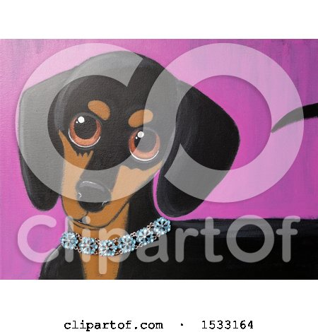 Clipart of a Painting of a Dachshund Dog Wearing a Diamond Collar - Royalty Free Illustration by Maria Bell