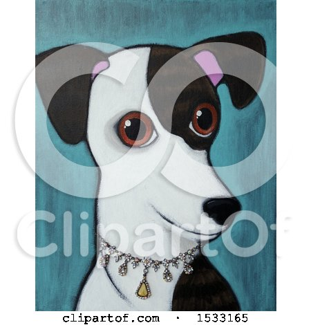 Clipart of a Painting of a Greyhound Dog Wearing a Diamond Collar - Royalty Free Illustration by Maria Bell