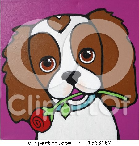 Clipart of a Painting of a Cavalier King Charles Spaniel Dog with a Rose in Its Mouth - Royalty Free Illustration by Maria Bell