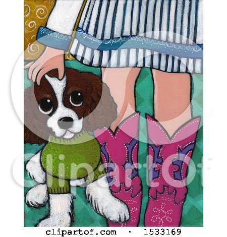 Clipart of a Painting of a Girl Wearing Boots, Petting Her Dog - Royalty Free Illustration by Maria Bell