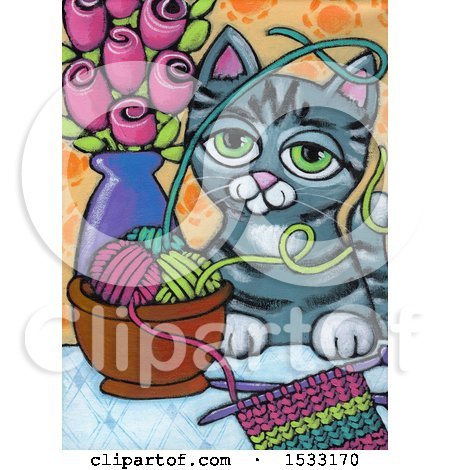 Clipart of a Painting of a Frisky Cat Getting into Yarn - Royalty Free Illustration by Maria Bell
