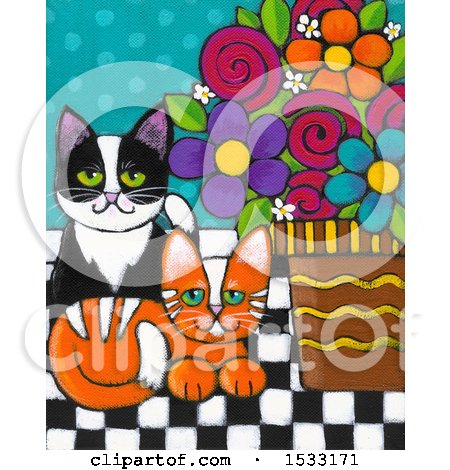 Clipart of a Painting of Ginger and Tuxedo Cats by Potted Flowers - Royalty Free Illustration by Maria Bell