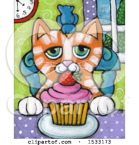 Clipart of a Painting of a Bird on a Ginger Cats Head with a Cupcake on a Table - Royalty Free Illustration by Maria Bell