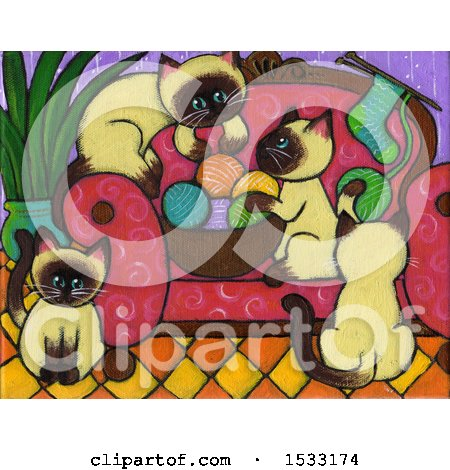 Clipart of a Painting of Siamese Kittens Getting into Yarn - Royalty Free Illustration by Maria Bell