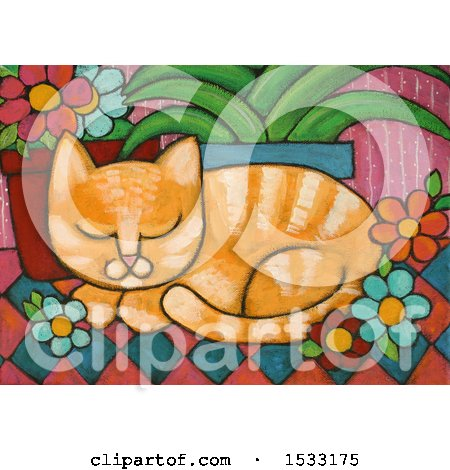 Painting of a Ginger Cat Resting by Potted Plants Posters, Art Prints
