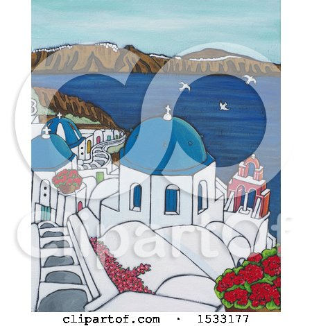 Clipart of a Painting of Santorini on a Sunny Day - Royalty Free Illustration by Maria Bell