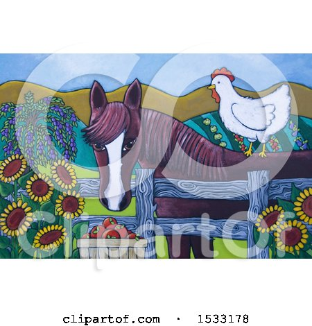 Clipart of a Painting of a Chicken on a Horse - Royalty Free Illustration by Maria Bell