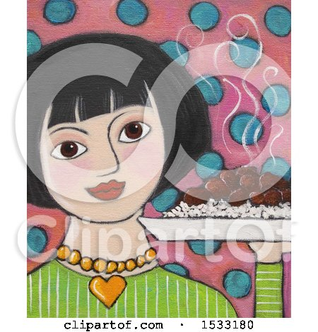 Painting of a Woman Holding a Hote Plate of Adobo Posters, Art Prints