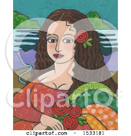 Clipart of a Painting of Mona Lisa with Roses - Royalty Free Illustration by Maria Bell