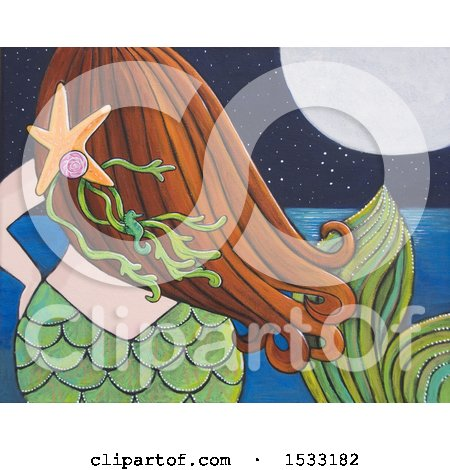 Painting of a Rear View of a Mermaid Viewing the Ocean at Night Posters, Art Prints