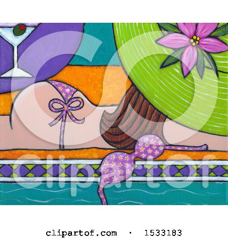 Clipart of a Painting of a Woman Sun Bathing Topless by a Pool - Royalty Free Illustration by Maria Bell
