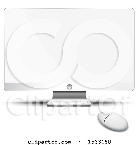 Clipart of a Desktop Computer with a Blank Screen - Royalty Free Vector Illustration by Oligo