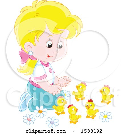 Blond White Girl Kneeling and Playing with Spring Chicks Posters, Art Prints