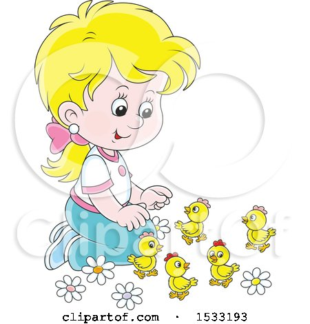 Blond Caucasian Girl Kneeling and Playing with Spring Chicks Posters, Art Prints