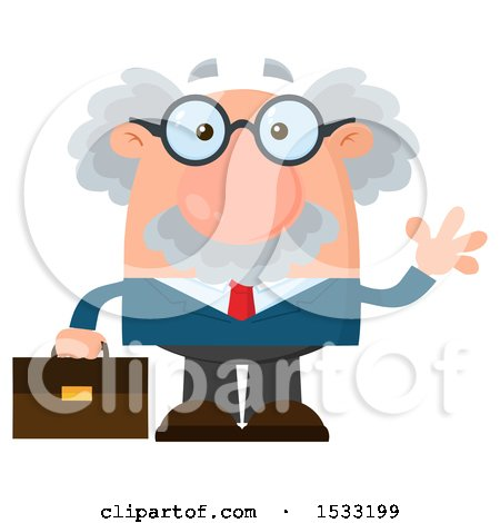 Clipart of a Male Science Professor Holding a Briefcase and Waving - Royalty Free Vector Illustration by Hit Toon