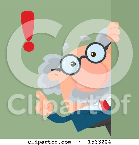 Clipart of a Male Science Professor with an Exclamation Point, Looking Around a Sign or Corner, on Green - Royalty Free Vector Illustration by Hit Toon