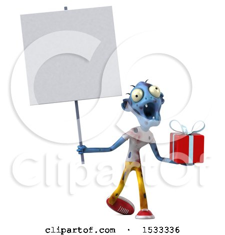 Clipart of a 3d Blue Zombie Holding a Gift, on a Yellow Background - Royalty Free Illustration by Julos