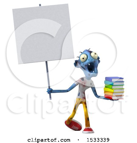 Clipart of a 3d Blue Zombie Holding Books, on a Yellow Background - Royalty Free Illustration by Julos