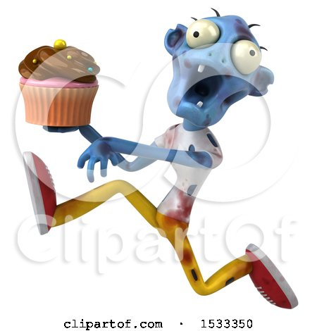 Clipart of a 3d Blue Zombie Holding a Cupcake, on a Yellow Background - Royalty Free Illustration by Julos