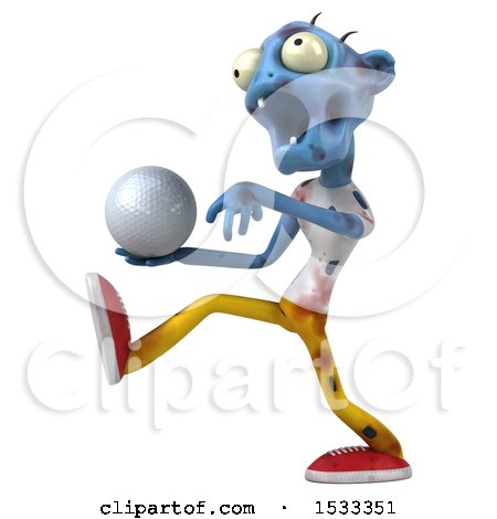 Clipart of a 3d Blue Zombie Holding a Golf Ball, on a Yellow Background - Royalty Free Illustration by Julos