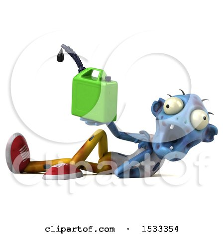 Clipart of a 3d Blue Zombie Holding a Gas Can, on a Yellow Background - Royalty Free Illustration by Julos
