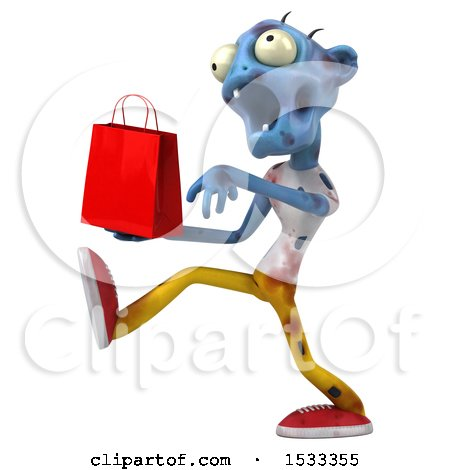 Clipart of a 3d Blue Zombie Holding a Shopping Bag, on a Yellow Background - Royalty Free Illustration by Julos