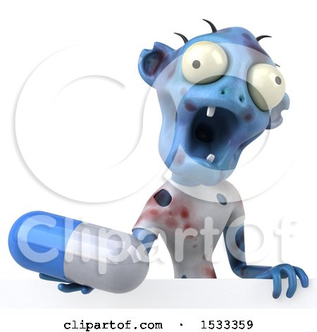 Clipart of a 3d Blue Zombie Holding a Pill, on a Yellow Background - Royalty Free Illustration by Julos