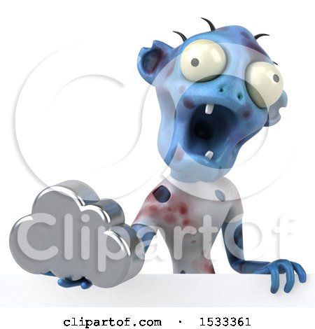 Clipart of a 3d Blue Zombie Holding a Cloud, on a Yellow Background - Royalty Free Illustration by Julos