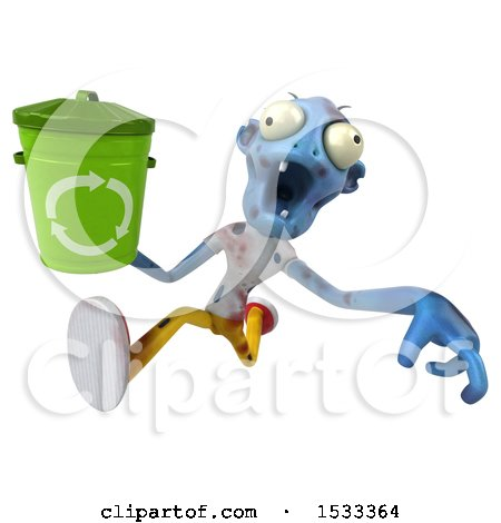 Clipart of a 3d Blue Zombie Holding a Recycle Bin, on a Yellow Background - Royalty Free Illustration by Julos